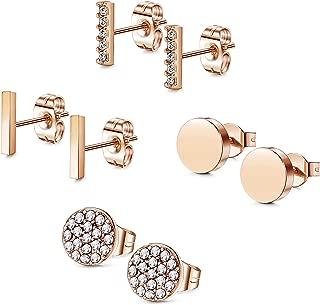 Stainless Steel CZ Bar Stud Earrings for Men Women Girls
