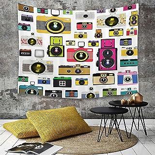 TapestryHippie Tapiztapiz de pared con decoración para el hogarVintage estilo antiguo Anticuado Cámaras fotográficas Artful Hobby Studpara picnic Mantel o Toalla de Playa redonda 130 x 150 cm