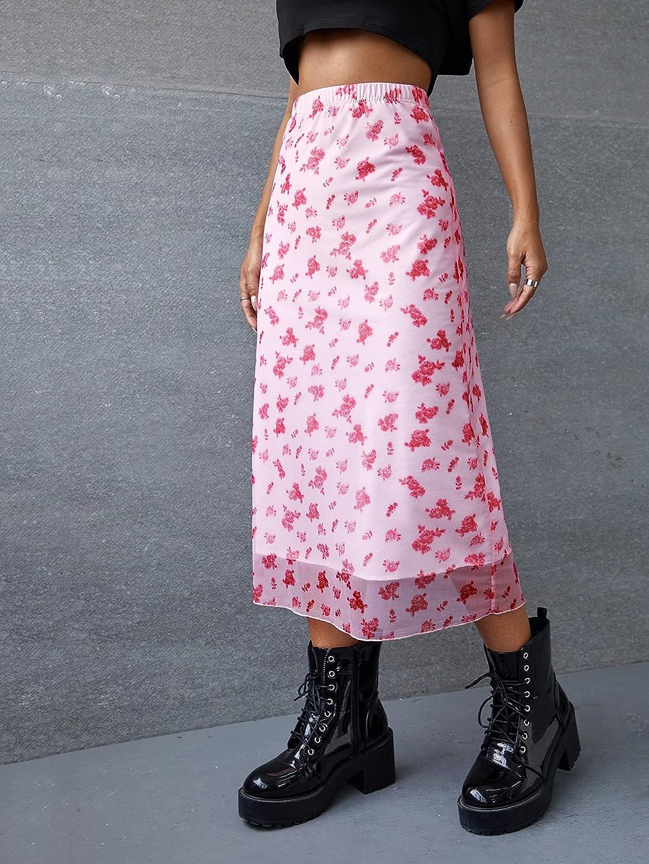 Verdusa Women's Floral Print Sheer Mesh Overlay Elastic Waist Long Skirt