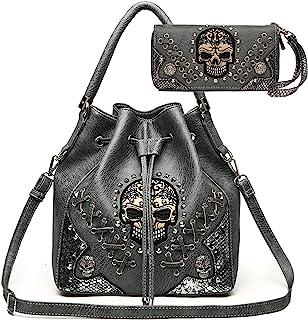 Sugar Skull Punk Art Nieten Nieten versteckte Tragetasche Damen Handtasche Mode Schultertasche Brieftasche Set