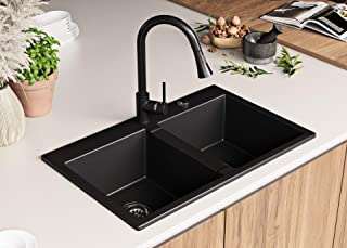 Granitspüle mit Siphon Bergen Einbauspüle Spülbecken Schwarz Küchenspüle Unterschrank Küche ab 80cm Spüle aus Granit mit Ablaufgarnitur Drehexcenter und Überlauf von Primagran