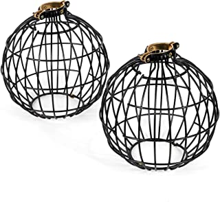 Rustic State Vintage Design Metal Light Cage Guard – Decorative Lamp Shade Black Set of 2Rustic State Vintage Design Metal Light Cage Guard – Decorative Lamp Shade Black Set of 2 (Globe)