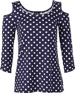 Star Vixen womens Petite 3/4 Sleeve Cutout Cold Shoulder Top Blouse