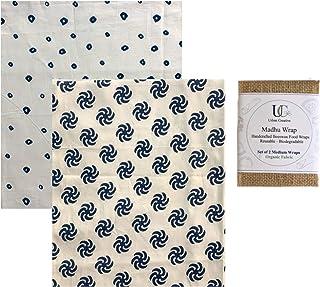 UC Urban Creative Madhu Wrap Reusable Beeswax Food Wraps- Set of 2 Medium Wraps in Organic Fabric
