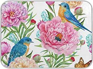 MNSRUU Dish Drying Mat Microfiber Absorbent Dishes Drainer Pad Fancy Flowers Birds Drying Mat for kitchen decor 18x24 Inch