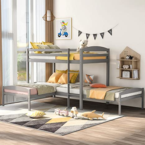 Amazon Com Wood Triple Bunk Bed Twin Over Twin Bunk Beds For 3 L Shaped Bunk Bed Frame For Kids Teens Adults Gray Kitchen Dining