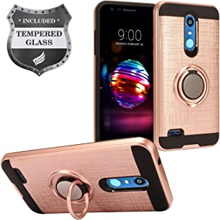 LG K30 LM-X410, Phoenix Plus X410AS, Harmony 2, Premier Pro LTE L413DL - Hybrid Hard Case w/Ring Stand + Tempered Glass Screen Protector - RS2 Rosegold