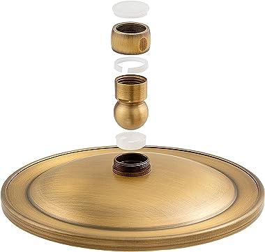 ZCSMTZ Cabezal de ducha de lluvia redondo de 20,32 cm, cabezal de ducha fijo de metal cepillado antiguo, perfecto para tu bañ