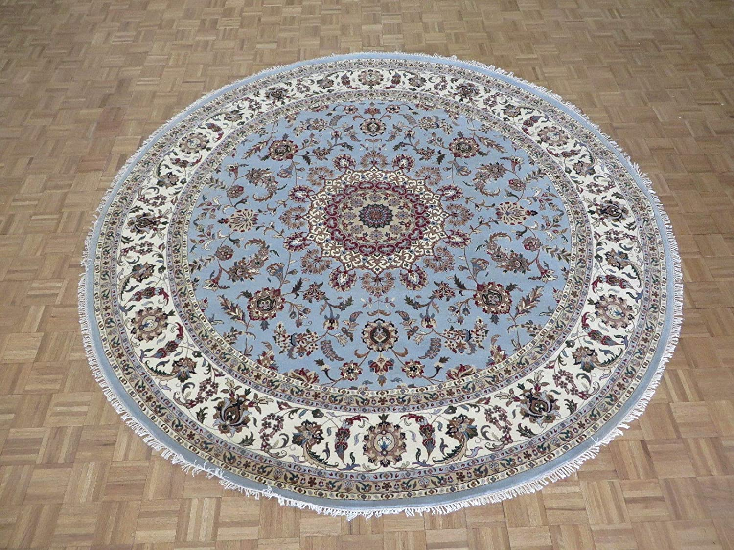 10 X Round Hand Knotted Sale Special Price Blue Tabriz Max 53% OFF with Fine Kashan Ori Silk