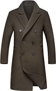 ChangNanJun Men's Lapel Collar Double Breasted Winter Wool Blend Coat Jacket