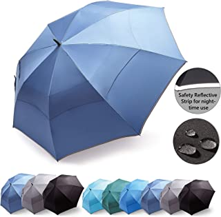 Hosa Automatic Open Golf Umbrella Extra Large Oversize Double Canopy Vented UV Protection Windproof Waterproof Stick Umbrella with Safety Reflective Strip for Night-Time Use