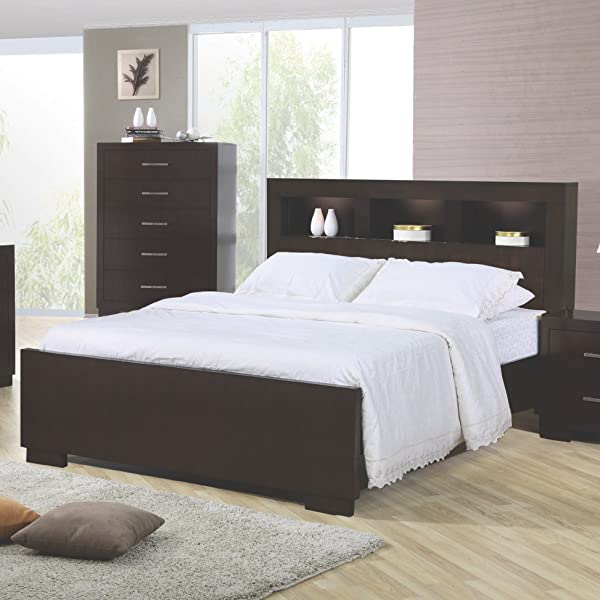 Coaster Home Furnishings Jessica Queen Bed With Storage Headboard And Built In Lighting Cappuccino