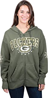 Ultra Game NFL Women's Full Zip Fleece Hoodie Sweatshirt Banner Jacket