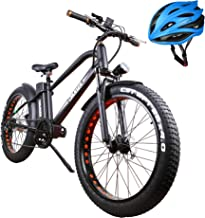 nakto Fat Tire Electric Bike Beach Snow Bicycle Fat Tire ebike 300W/350W/500W 36V/48V/8AH/10AH/12AH Electric Mountain Bicycle with Shimano 6 Speeds Lithium Battery