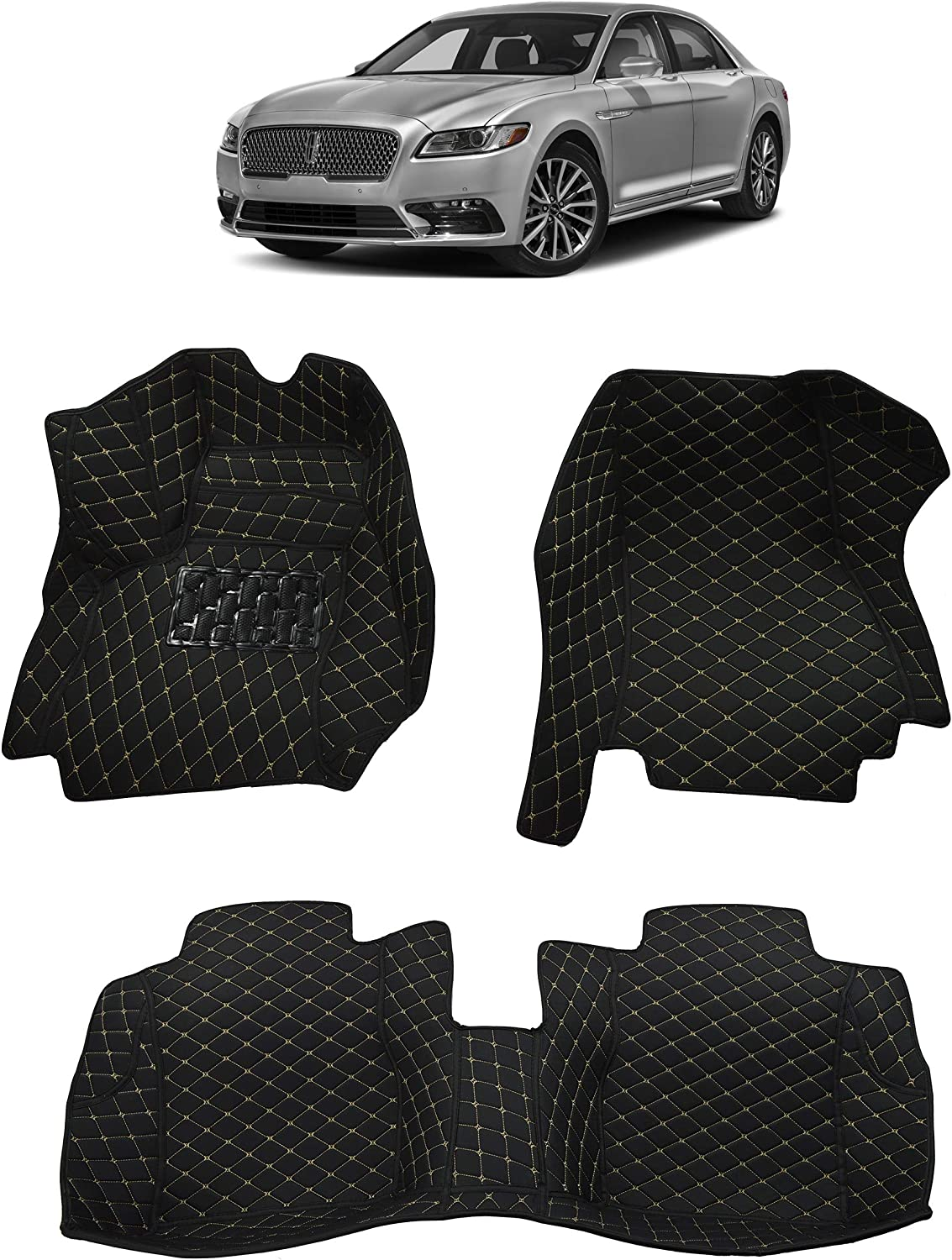 Black Single Layer All Weather Heavy Duty Full Coverage Floor Mat Floor Protection Custom Fit Made in USA Front and Rear for 2017 2018 2019 2020 Lincoln Continental Sedan