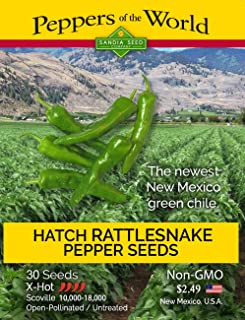 Hatch Green Rattlesnake Chile Seeds - 30 Seeds - XHot New Mexico Flavor and Thick Flesh