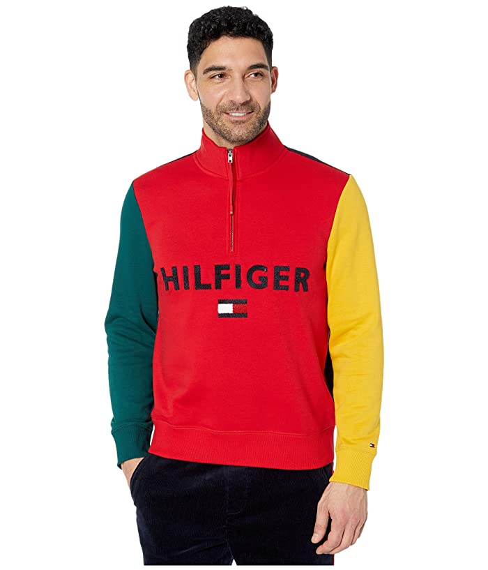 Tommy Hilfiger Adaptive  Colorblock Mockneck Sweater (Apple Red/Sky Captain) Mens Clothing