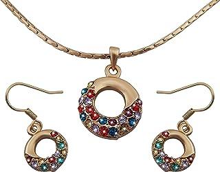 hanessa–Parure orecchini collana della catena placcato oro strass colorati su orecchini a cerchio in oro regalo per il m...