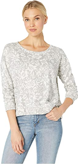 Cropped Boxy Sweatshirt in Floral Printed French Terry