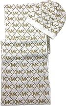 Michael Kors Women's Metallic MK Diamond Logo Scarf & Hat Set, Cream/Gold