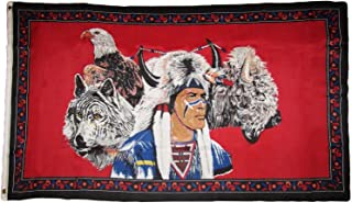ALBATROS 3 ft x 5 ft Indian Native American Eagle Wolf Bison Buffalo Polyester Flag Grommet for Home and Parades, Official Party, All Weather Indoors Outdoors
