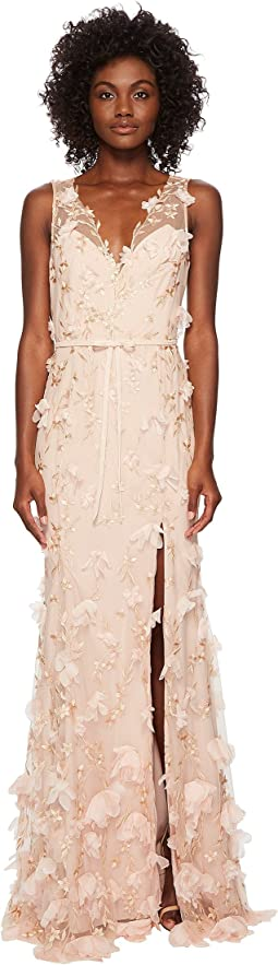 V-Neck Embroidered Gown w/ 3D Chiffon Flowers and Front Slit and Velvet Waistband