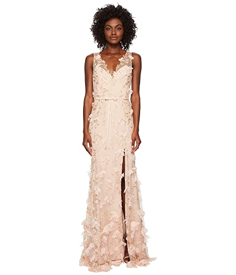 Marchesa V-Neck Embroidered Gown w/ 3D Chiffon Flowers and Front Slit and Velvet Waistband