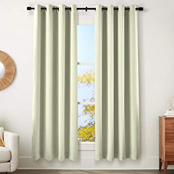 """AmazonBasics 99% Room Darkening Theatre Grade Heavyweight Window Panel with Grommets and Thermal Insulated, Noise Reducing Liner - 52"""" x 95"""", Celadon Green"""
