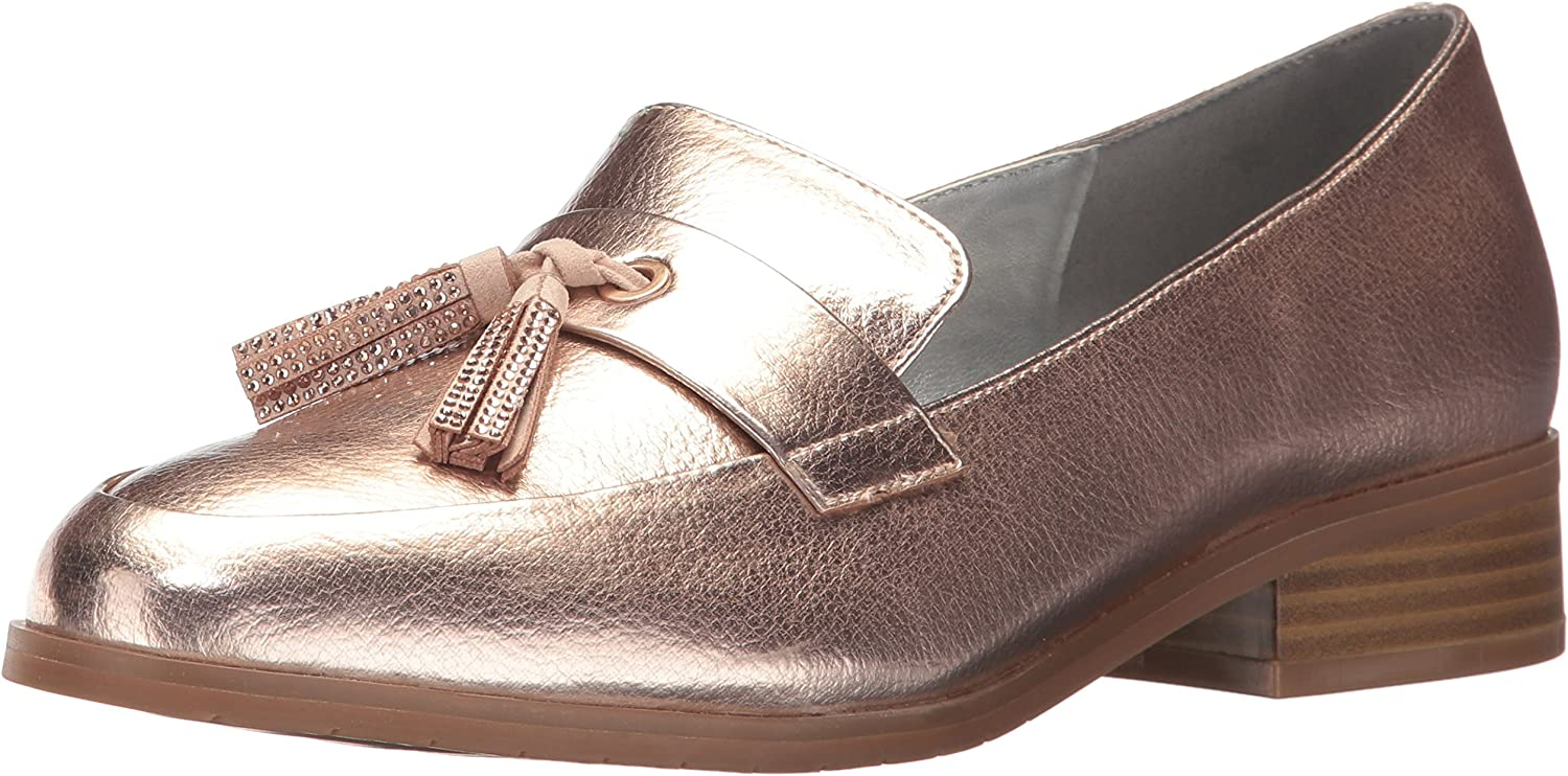 Kenneth Cole REACTION Womens Jet Ahead Dress Loafer with Tassel Detail Metallic Slip-On Loafer