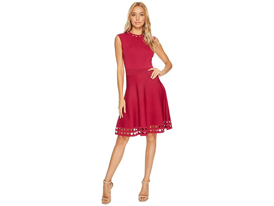 Ted Baker Kathryn Cutwork Knitted Skater Dress (Deep Pink) Women
