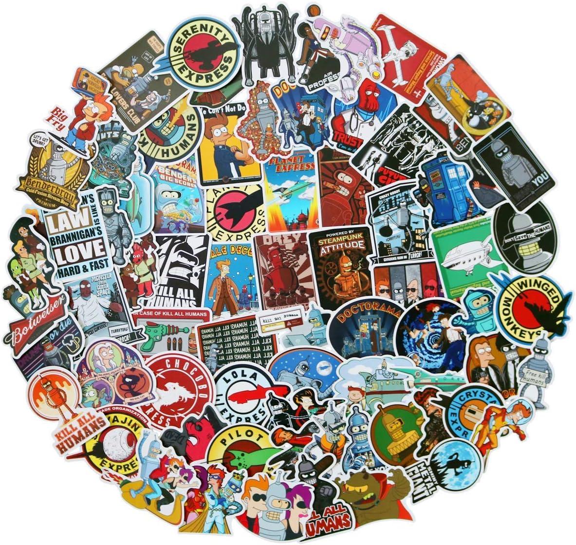 Philip J.Fry 74 pcs/Pack Futurama Stickers Variety Vinyl Car Sti