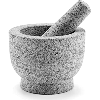 CO-Z Granite Mortar and Pestle Set for Guacamole Spice Herbs Salads, 6 Inch - 2 Cup Capacity - Large Heavy Duty Unpolished Granite Molcajete Grinder, Non Porous, Dishwasher Safe