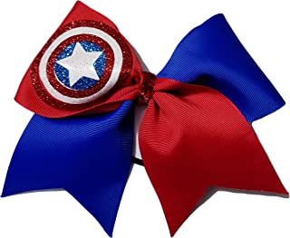 Cheer Bows Blue and red Captain America Hair Bow