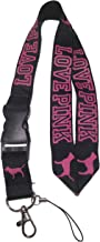 LOVE PINK Lanyard Black/Pink Neck Strap Keychain ID Holder Keyring for Keys Phones Bags from SprayWayCustoms Store