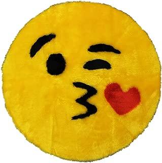 Emoji Rug - Soft and Cute - Made in France - Emoji Mat fit for Any Room - Dorm Bed Bathroom Kids Room Emojis (Kiss)