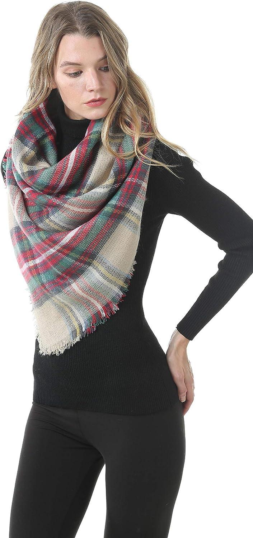 Easysmile Womens Blanket Scarf Buffalo Plaid Long Warp Shawls Fashion Tartan Knit Winter Warm Lattice Scarves