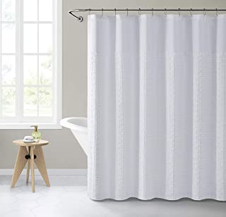 VCNY Home Clipped Geo Shower Curtains, 0, White