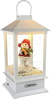 WeRChristmas Pre-Lit LED Snowing Musical Snowman Lantern Christmas Decoration, 32 cm - White