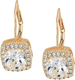 Betsey Johnson - Blue by Betsey Johnson CZ Square-Shaped Stone Drops with Crystal Accents and Gold Tone Base with Heart-Shaped Cut Out Details Earrings