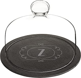 Cathy's Concepts 2197-Z Personalized Slate Tray with Glass Dome, Black