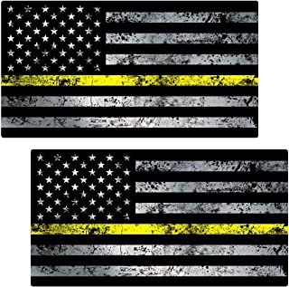 AZ House of Graphics Thin Yellow Line Flag GRUNGE Stickers 2 Pack