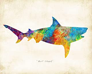 Watercolor Bull Shark Art Print by Dan Morris