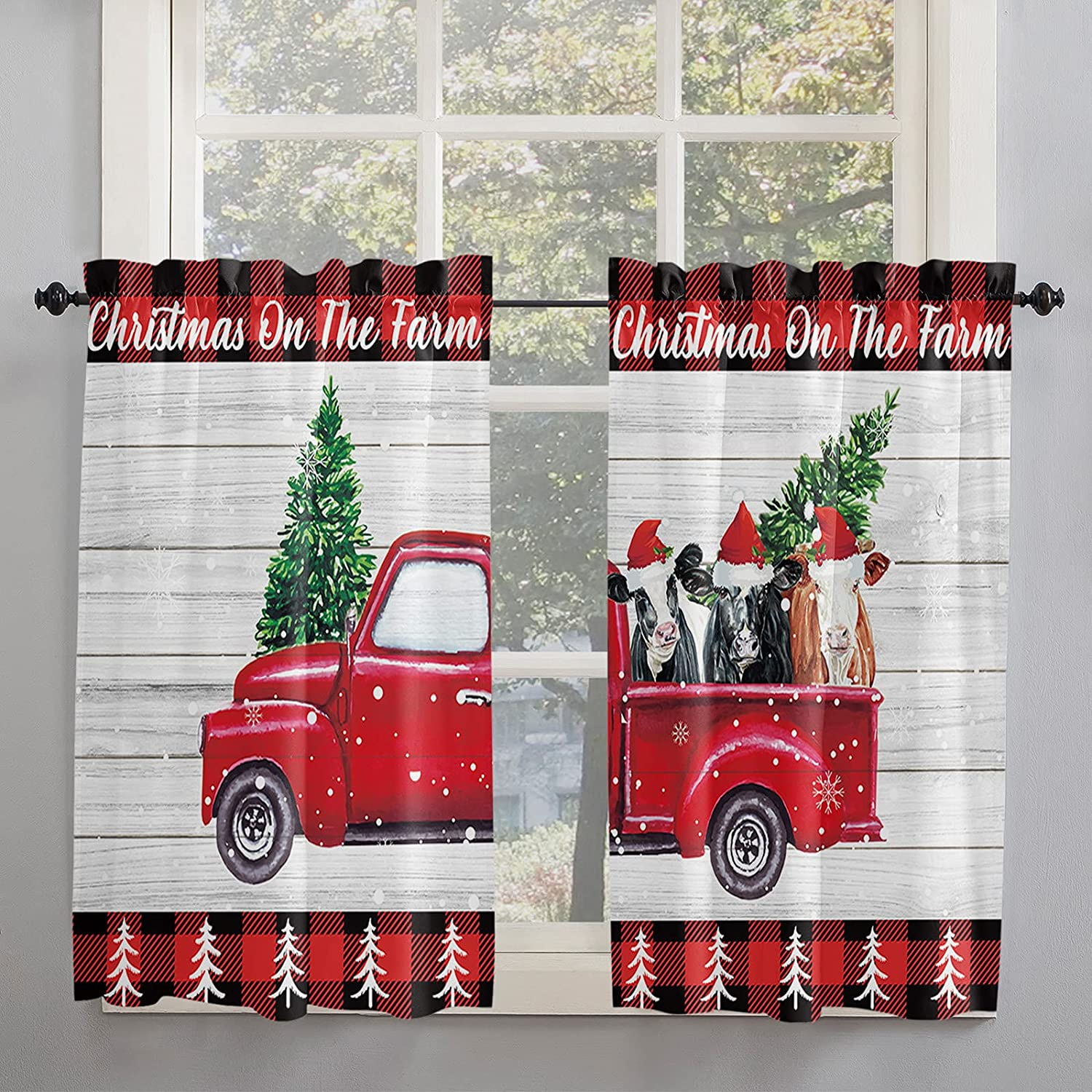 Rustic Christmas White Cheap SALE Start Board Retro Red Kitchen Pickup Popular popular 5 Curtains