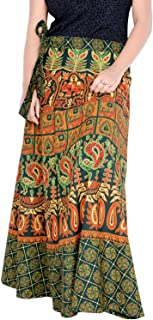 Rajvila Women's Cotton Printed Long 36 Inch Length Regular Wrap Around Skirt GreenColour (F_W36NTG_0005-3XL)