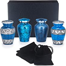 Adera Dreams Small Urns for Human Ashes Keepsake - Set of 4 Blue Memories Mini Cremation Urns - Memorial Ashes Urn with Case, Velvet Pouches and Funnel - Miniature Burial Funeral Urns for Sharing Ash