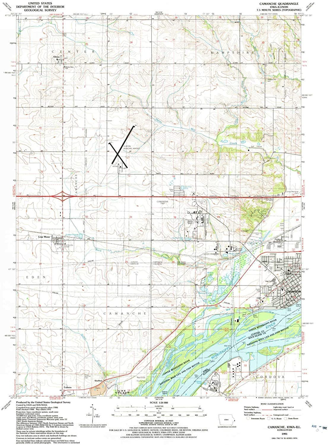 Camanche IA topo map, 1 24000 Scale, 7.5 X 7.5 Minute, Historical, 1991, Updated 1992, 26.7 x 21.9 in