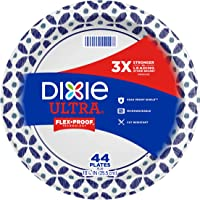 Dixie Ultra Paper Plates, 10 1/6 inch Dinner Size Printed Disposable Plates, 44 Count, (1 Pack of 44 Plates), Packaging...