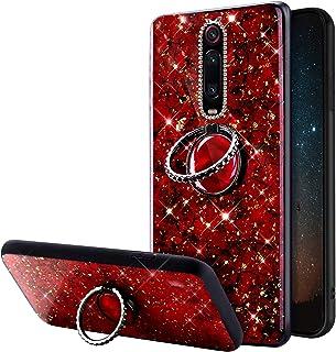 Funda Compatible con Xiaomi Redmi K20 Carcasa Case Polvo de Brillo Purpurina Glitter Bling Rhinestone Anillo Soporte TPU S...