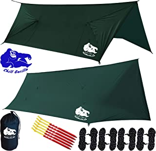 Chill Gorilla Fortress 2 Hammock Rain Fly Camping Tarp. SILNYLON. 4 Doors. Stakes, Ropes & Tensioners Included. Camping Gear & Accessories. Perfect Hammock Tent & All Season Tent Tarp