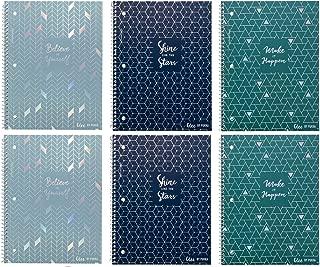 Pukka Pad Single Subject Notebook 6-Pack 50 Premium 80 GSM Sheets Glee Range: Blues Green